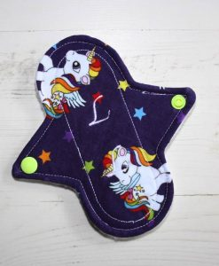 6″ Liner cloth pad | Rainbow My Little Pony Deep Purple Cotton | White Polar Fleece | Luna Landings | Sub 1