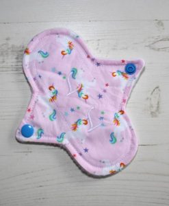 6″ Liner cloth pad | Rainbow Unicorns on Pink Cotton | White Polar Fleece | Luna Landings | Sub 1