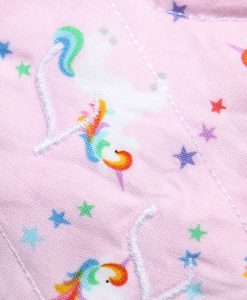 6″ Liner cloth pad | Rainbow Unicorns on Pink Cotton | White Polar Fleece | Luna Landings | Sub 2