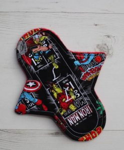 8″ Liner cloth pad | Avengers Thor Cotton | Red Polar Fleece | Luna Landings | Sub 1