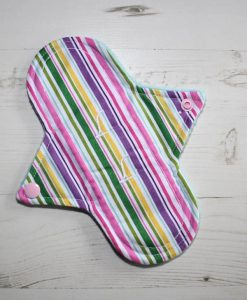 8″ Liner cloth pad | Pink Multi Stripes Cotton | Aqua Polar Fleece | Luna Landings | Sub 1