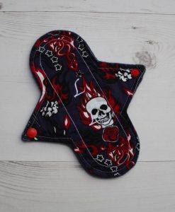 8″ Liner cloth pad | Skulls and Flames Cotton | Indigo Wind Pro Fleece | Luna Landings | Sub 1