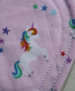 9″ Regular Flow cloth pad | Unicorns on Pink Cotton | Mint Wind Pro Fleece | Luna Landings | Sub 2