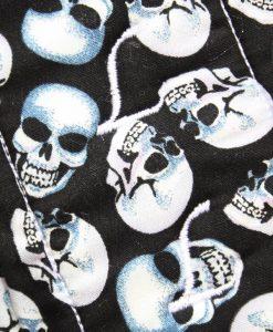 14″ Overnight Extra Heavy Flow cloth pad | Skulls on Black Cotton | Grey Wind Pro Fleece | Luna Landings | Flared 2