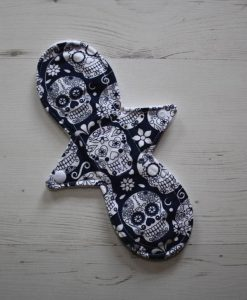 10″ Liner cloth pad | Day of the Dead Navy Cotton Jersey | White Polar Fleece | Luna Landings | Slim Sub 1