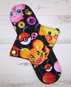 11″ Light Flow cloth pad | Pokemon on Black Cotton Jersey | Coyote Wind Pro Fleece | Luna Landings | Sub 1