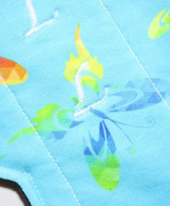 14″ Regular Flow cloth pad | Rainbow Butterflies Cotton Jersey | Indigo Wind Pro Fleece | Luna Landings | Double Flare 2