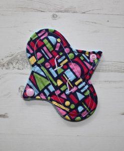 6″ Liner cloth pad | Geometric Shapes Cotton | Aqua Polar Fleece | Luna Landings | Sub 1