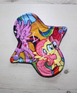 6″ Liner cloth pad | Pony Parade Cotton | Purple Polar Fleece | Luna Landings | Sub 1