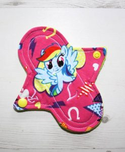 6″ Regular Flow cloth pad | My Little Pony Pink Cotton Jersey | Yellow Wind Pro Fleece | Luna Landings | Sub 1