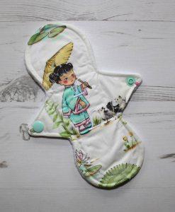 8″ Liner cloth pad | China Girl Cotton | White Polar Fleece | Luna Landings | Slim Sub 1