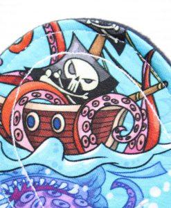 "8"" Regular Flow cloth pad | Pirate Ships Cotton Jersey | Indigo Wind Pro Fleece | Luna Landings | Sub"