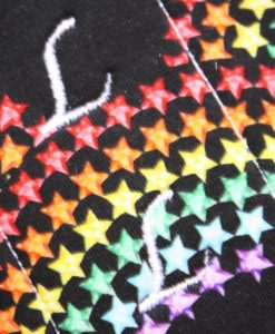 "9"" Regular Flow cloth pad | Rainbow Star Bridge Black Cotton Jersey | Red Wind Pro Fleece | Luna Landings | Sub"