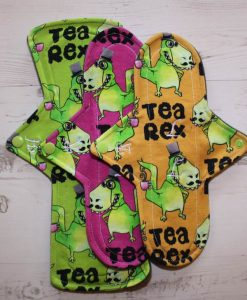 Cloth Pad Starter Set – 10″ Regular flow x 2 | 12″ Heavy flow | Tea Rex