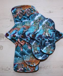 Cloth Pad Starter Set – 6″ Liner | 8″ Light flow | 10″ Regular flow | 12″ Heavy flow | Greek Gods