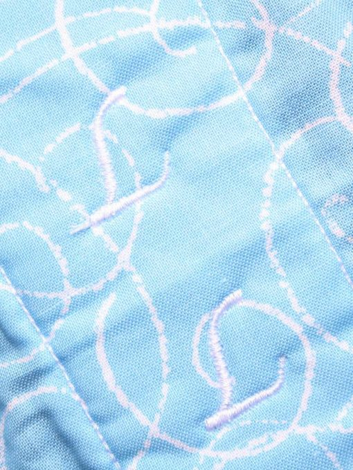 "14"" Regular Flow cloth pad | Sky Blue Scrolls Cotton | Dark Grey Wind Pro Fleece | Luna Landings | Double Flare"