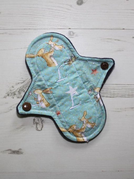 6″ Light Flow cloth pad | Some Bunny Loves You Cotton | Indigo Wind Pro Fleece | Luna Landings | Sub 1