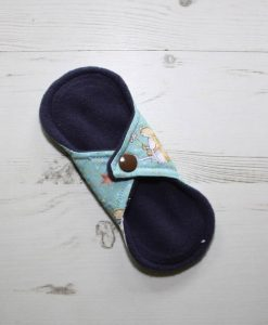 6″ Light Flow cloth pad | Some Bunny Loves You Cotton | Indigo Wind Pro Fleece | Luna Landings | Sub 4