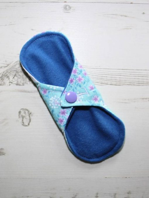 6″ Light Flow cloth pad | Unicorns on Aqua Cotton | Blue Wind Pro Fleece | Luna Landings | Sub 4