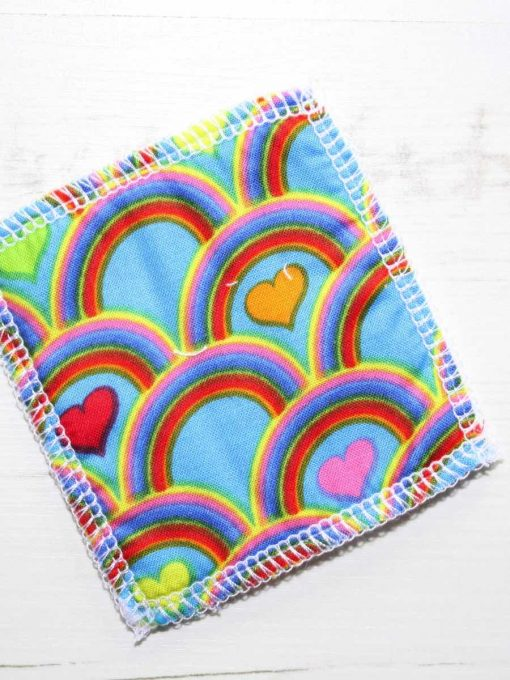 Rainbow Hearts Make-up remover wipes – set of 5