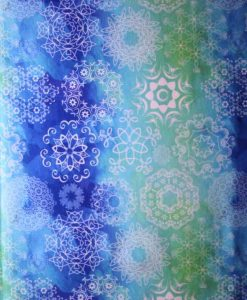 White Mandalay on Green and Blue Cotton Jersey