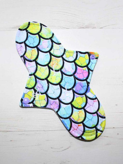 "10"" Regular Flow cloth pad | Dragon Scales Cotton Jersey | Mint Wind Pro Fleece | Luna Landings | Sub"