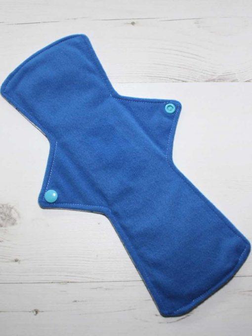 12″ Heavy Flow cloth pad | Ink Spots Cotton Jersey | Blue Wind Pro Fleece | Luna Landings | Double Flare