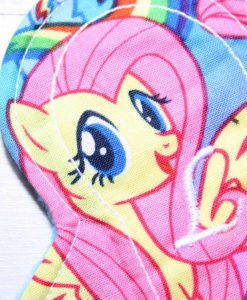 "6"" Liner cloth pad | Pony Parade Cotton | Turquoise Polar Fleece | Luna Landings | Slim Sub"