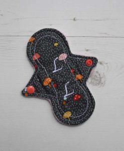 "6"" Liner cloth pad | Toadstools on Grey Cotton | Pink Polar Fleece | Luna Landings | Slim Sub"