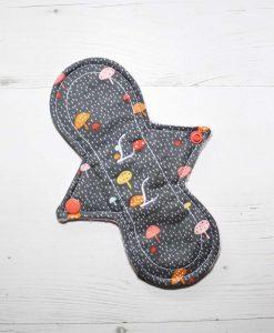 "8"" Liner cloth pad | Toadstools on Grey Cotton | Pink Polar Fleece | Luna Landings | Slim Sub"