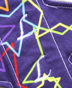 "11"" Heavy Flow cloth pad | Stars on Deep Purple Cotton Jersey | Grey Wind Pro Fleece | Luna Landings | Slim Sub"