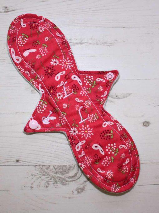 """12"""" Regular Flow cloth pad   Butterfly Meadow Pink Cotton   Mint Wind Pro Fleece   Luna Landings   Slim Sub"""