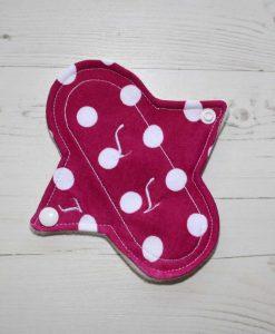 "6"" Light Flow cloth pad | Fucshia Polka Dot Cotton Jersey | Cream Wind Pro Fleece | Luna Landings | Sub"