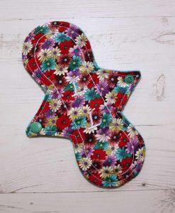 "8"" Liner cloth pad | Gerberas Cotton | Jade Wind Pro Fleece | Luna Landings | Slim Sub"