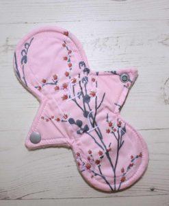 "8"" Liner cloth pad | Pink Blossoms Cotton | Pink Polar Fleece | Luna Landings | Slim Sub"