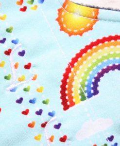 "8"" Liner cloth pad | Rainbows on Mint Cotton Jersey | Navy Polar Fleece | Luna Landings | Sub"
