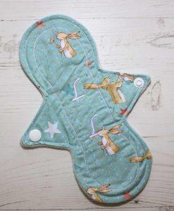 "8"" Liner cloth pad | Some Bunny Loves You Cotton | Mint Wind Pro Fleece | Luna Landings | Slim Sub"