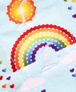 "9"" Light Flow cloth pad | Rainbows on Mint Cotton Jersey | Celery Wind Pro Fleece | Luna Landings | Sub"