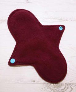 9″ Regular Flow cloth pad | Ink Spots Cotton Jersey | Burgundy Wind Pro Fleece | Luna Landings | Sub