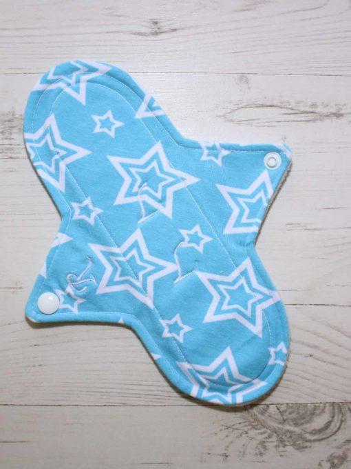 9″ Regular Flow cloth pad | Stars on Aqua Cotton Jersey | Mint Wind Pro Fleece | Luna Landings | Sub 1