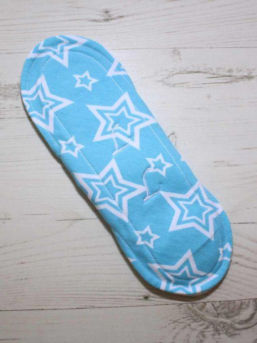 9″ Regular Flow cloth pad | Stars on Aqua Cotton Jersey | Mint Wind Pro Fleece | Luna Landings | Sub 5