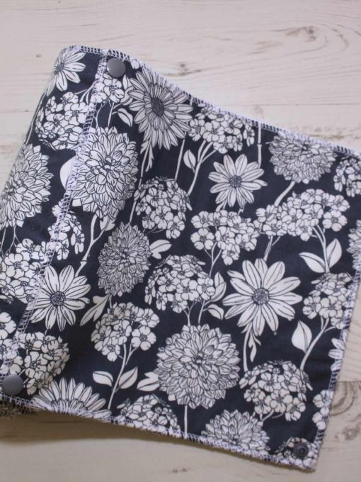 Chrysanthemums on Grey - Reusable Kitchen Roll - Set of 7
