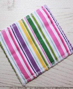 Pink Multi Stripes Make-up remover wipes – set of 5