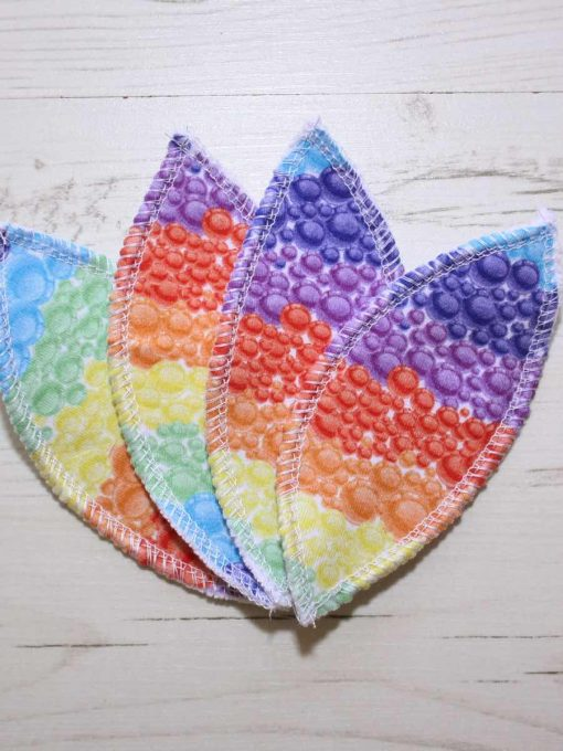 Rainbow Bubbles Interlabial pads – set of 4