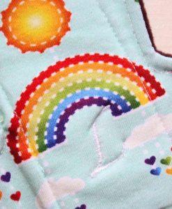 "11"" Heavy Flow cloth pad | Rainbows on Mint Cotton Jersey | Wine Wind Pro Fleece | Luna Landings | Slim Sub"