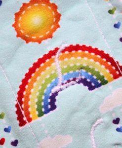"9"" Liner cloth pad | Rainbows on Mint Cotton Jersey | Mint Wind Pro Fleece | Luna Landings | Sub"