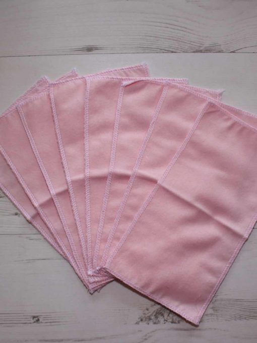 Value Pink Cotton flannel - Family cloth - Set of 8