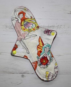 "11"" Heavy Flow cloth pad | Fairy Sketch Cotton | Wine Wind Pro Fleece | Luna Landings | Sub"