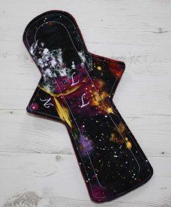 14″ Overnight Extra Heavy Flow cloth pad | Massive Planets Cotton | Wine Wind Pro Fleece | Luna Landings | Flared Sub 1