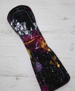 14″ Overnight Extra Heavy Flow cloth pad | Massive Planets Cotton | Wine Wind Pro Fleece | Luna Landings | Flared Sub 5